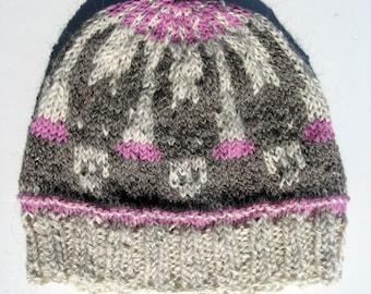 Knitted Winter Beanie, Fair Isle Alpaca Wool Hat, Donkey Hat for Men and Women