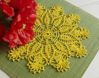 Crochet doily Yellow lace doily Handmade cotton crochet doilies Sunny doilies crochet Flower doily 389