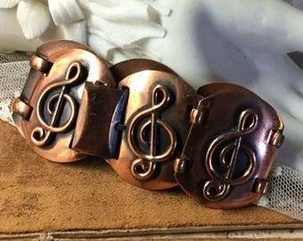Music Themed Treble Clef Copper Bracelet Unsigned Square Links 1950's 1960's For The Music Lover  Chunky Wide Mid Century Modern