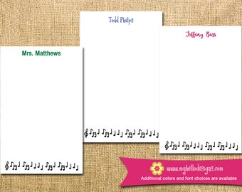 Personalized Music Notepad - mom kid child children note teacher to do list gift list pad custom song personalize monogram holiday