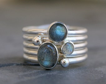 Labradorite Stacking Rings Sterling Silver Set of 5 Ring Gemstone Stack Silver Pebble Silver Drop Oval Gem Round Cabochon Stack of Five Ring