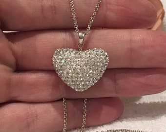 Gorgeous Vintage Sterling SILVER-Diamante HEART Pendant-Comes on a 46cm (18 inch) Italian Made Sterling Silver Micro BELCHER Chain