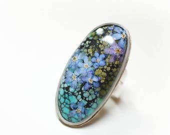 Handmade Turquoise Silver Flower Ring - adjustable size - pressed flower, blue 'fortget-me-not' flower