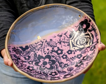 Large Ceramic serving bowls, salad bowl, decorative ceramic bowls,  serving platters, 9th anniversary gift, handmade gifts, ceramic pottery