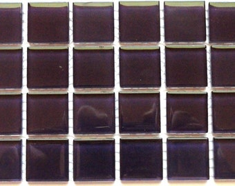 1 in. Violet Purple Glass Mosaic Tiles Eggplant Plum//Mosaic Supplies//Mosaic Pieces//Mosaics