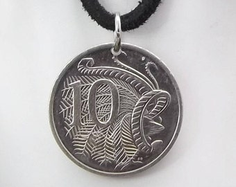 Bird Coin Necklace, Australian 10 Cent, Coin Pendant,  Leather Cord, Men's Necklace, Women's Necklace, 2010