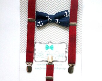 Boys Bow Tie Suspender Set, Boys Bow Tie, Toddler Bow Tie, Boys First Birthday Outfit, Boys Clothes, Boys Cake Smash Outfit, Navy Bow Tie
