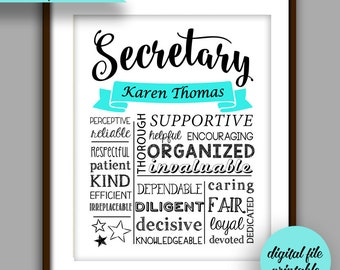 Secretary Gift, Administrative Assistant Printable, Secretary Christmas Gift,  Secretary Thank You