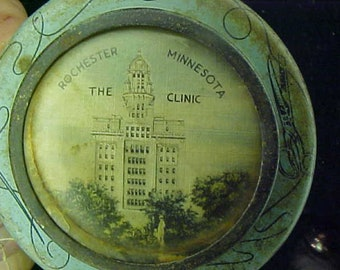 Vintage 1900's  Lithographed Tin The Clinic In Rochester MN. The Mayo Clinc