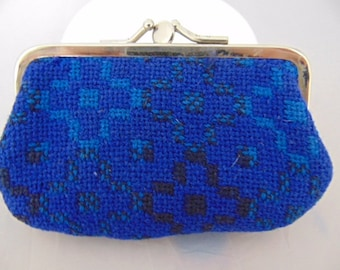 Blue vintage Woven wool coin purse