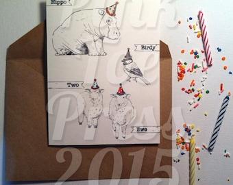 Hippo Birdy Birthday Card