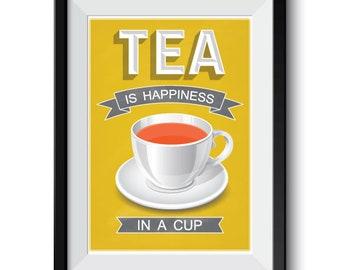Mustard Yellow Tea Poster, Yellow kitchen decor, tea print, Yellow tea poster, tea poster, kitchen art, tea cup kitchen decor, tea quote art