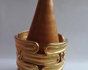 Sphinx Goldtone Hinged/Clamper Bracelet - 80s