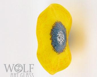 MADE TO ORDER Blown Glass Wall Art Marigold Yellow Orange With Denim Blue Poppy Flower Glass Sculpture