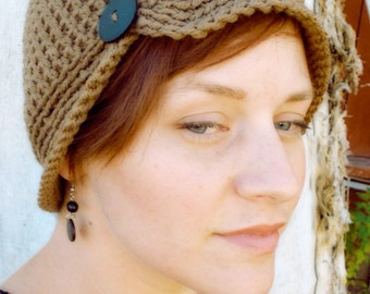 Womens Crochet Flapper Hat with Button - Flapper Hat - Crochet Cancer Hat - Simple Womens Hat - Vintage Style - You Choose Color
