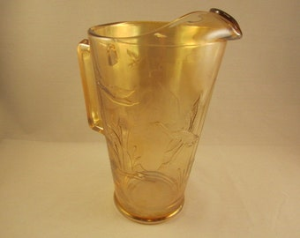 Vintage Marigold Carnival Glass Pitcher with Ducks & Cattails