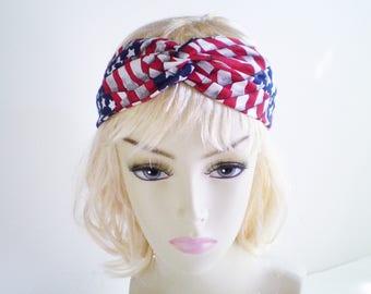 USA Flag Turban Headband, USA Flag Twist Headband, American Flag Headband, Patriotic Headband, Red White Blue Headband