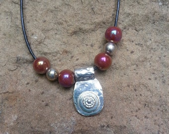 Fine Silver Pendant and Leather Necklace
