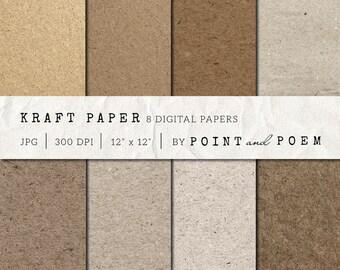 50% OFF SALE Kraft Digital Paper, Kraft Paper Neutrals, Chipboard, textured papers, scrapbooking, background, cardboard - Commercial Use