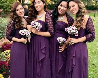Bridesmaid shawls set of 4, purple bridesmaid shawls, plum wedding, bridesmaid wraps and shawls, lace bridal shrug, purple wedding