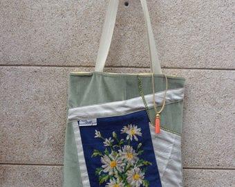 tote bag, tote bag Green and Blue Navy daisies