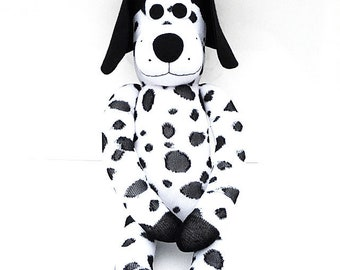 Dollar the Sock Dog - Dalmatian (black and white) - *READY TO SHIP*