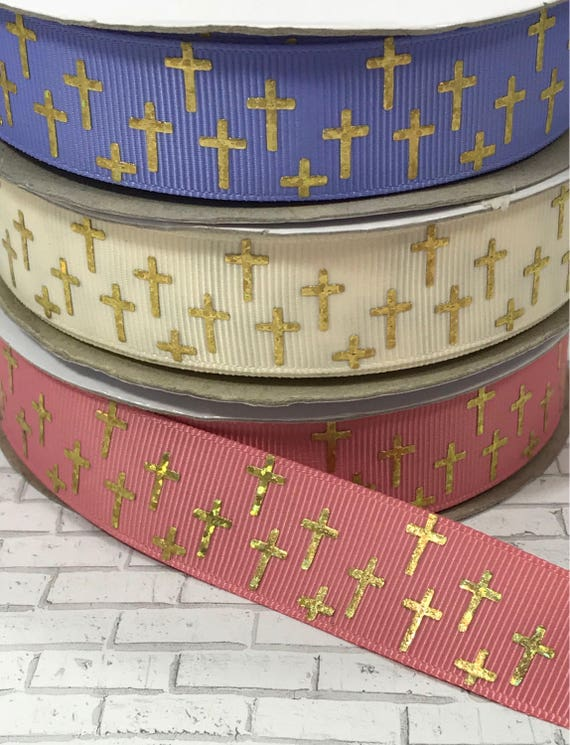 Easter ribbon, cross ribbon, religious ribbon, grosgrain ribbon, US Designer ribbon, by the yard