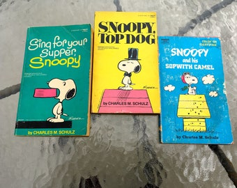 "Vintage 70's - 80's ""SNOOPY PAPERBACKS"" by Charles Schulz - Lot of 3."