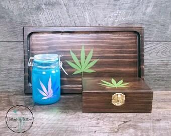 Custom Stoner Gift Set, Wood Rolling Tray Glass Stash Jar and Wood Stash Box Set, Cannabis Leaf, Smoker Gift Set, Marijuana Leaf, 420 Gift,