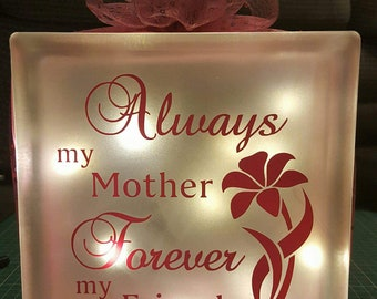 "Handmade Glass block 8"" x 8"" mum gift"