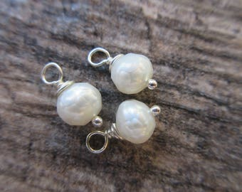 Faceted White Pearl Dangles, 5mm round pearls with sterling silver wire wrap. 3 dangles June Birthstone PD102
