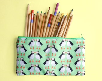 Puffin zip pouch - green pencil case - puffin lover gift - cute pencil pouch - unique puffin print fabric - coastal bird lover gift