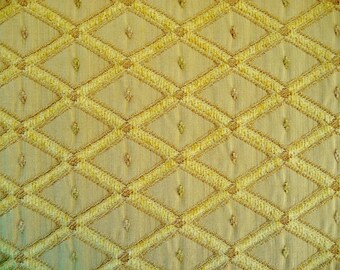 "Fabric Remnant, Woven Chenille Diamond Geometric Pattern, Beige Gold Heavyweight Upholstery Material 1.75 YD, 58"" Wide, One Piece"