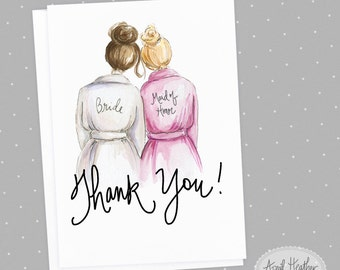 Thank you! Maid of Honor PDF Brunette Bun Bride and Blonde Bun Maid of Honor, Thank you card PDF printable card