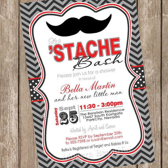 Chevron stache bash baby shower invitation moustache little like this item filmwisefo Image collections