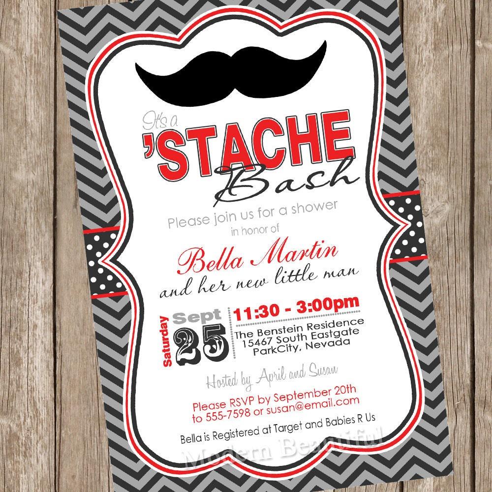 Chevron Stache Bash Baby Shower Invitation moustache little