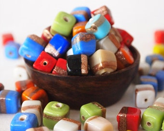 20 Glass Cube Beads Mixed Colours Opaque Finish Size 8 - 9mm