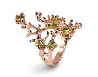 REEF Rose Gold Peridot Ring, Gold Gemstone Ring, Rose Gold Ring, Peridot Engagement Ring, Organic Ring, Statement Ring