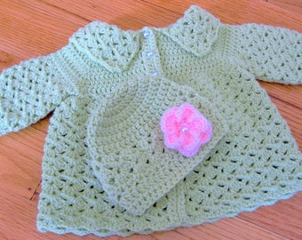 Crochet Baby Sweater,  Baby Coat and Hat, Infant Gift Set, Newborn Gift, Handmade, Easter, Baby Outfit, Pearl Buttons