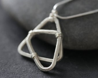 Handmade silver geometric shape pendant on silver snake chain necklace (N0092A)