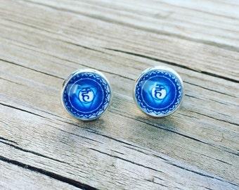 Blue Throat Chakra ( Vishuddha ) Glass Earrings