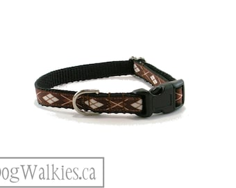 """Chocolate Argyle - 1/2"""" (13mm) Wide - Thin Argyle Dog Collar - Small Martingale or Quick release // Brown // Black // Sand // Camel // Tan"""