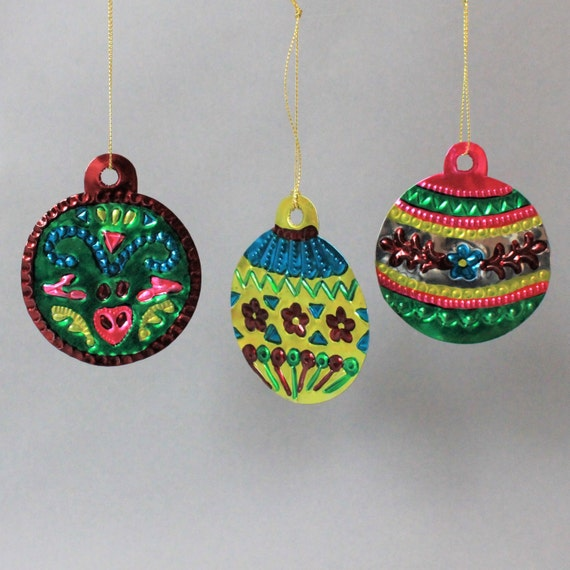 Mexican Tin Bauble Decorations Set Mexican Tin Metal