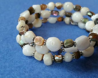 Mother of Pearl and Abalone Beaded Wrap Bracelet with silver plated rondelle beads, handmade memory wire bracelet, natural shell paua shell