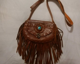 VINTAGE THAI Fringe Cross Body Bag with TURQUOISE Accent