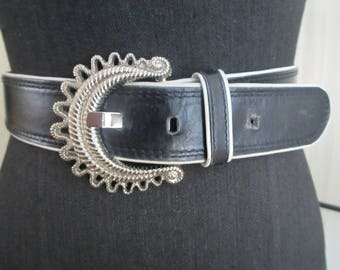 Escada Black/White Silver Buckle Leather Belt
