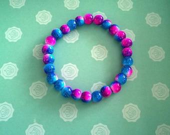 Handmade Pink and Blue Bracelet.