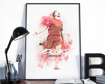 liverpool fc, poster gerrard, poster liverpool fc, football poster, steven gerrard, wall art football, gerrard liverpool poster, liverpool.