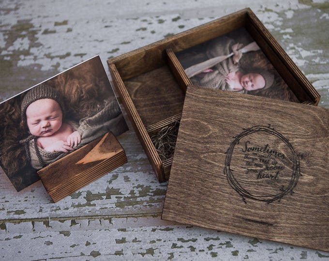 custom - set of 10 - 5x7x2.5 - Wood print box with 3 sections - 8gb USB included  -  (photo stand NOT included)