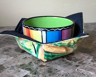 Microwave Bowl Cozy, Microwave Bowl Holder, Soup Cozies, Soup Bowl Holder --- Corn on the Cob, Vegetables, Corn Kitchen decor